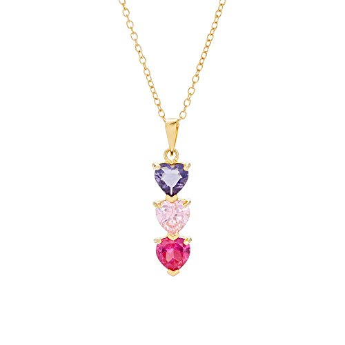 3 Simulated Stone Custom Heart Drop Necklace