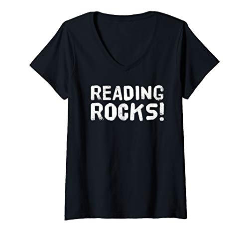 Womens READING ROCKS Art Funny Book Reader Library Nerd Gift Idea V-Neck T-Shirt -