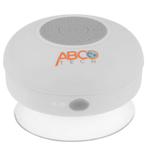 Abco Tech Water Resistant Wireless Bluetooth Shower Speaker with Suction Cup and Hands-Free Speakerphone, White by Abco Tech