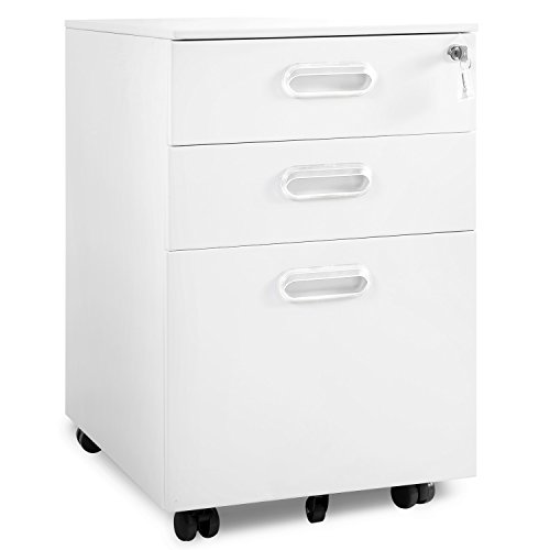 Modern Luxe By Merax 3 Drawer Mobile File Cabinet Solid Metal Rolling Cabinet Fully Assembled Except Casters (white) - Filing Cabinet Casters