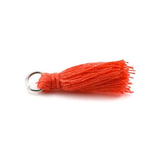 pampille/Pompon in cotone 30mm con anello corallo x5 FLTM