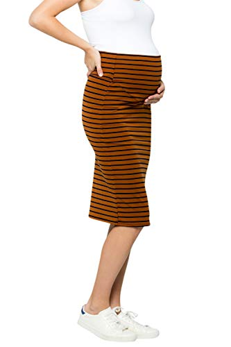 My Bump Maternity Skirt for Women - Comfort Stretch High Waisted Tummy Control Cotton Blend Midi Pencil Skirt Made in USA Camel Navy Medium (Skirt Blend Womens)