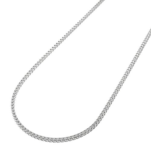 Sterling Silver Italian Solid Franco Square Box Link .925 Rhodium Chain Necklaces 1MM - 5.5MM, 16
