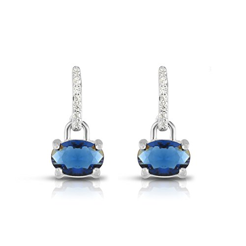 Sterling Silver Oval Glass And Round Cubic Zirconia Drop Bar Designer Earrings. (Blue) -