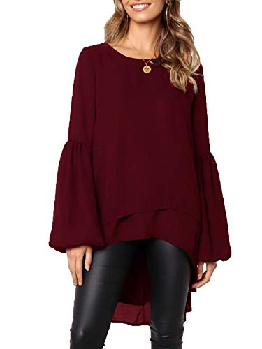MISSLOOK Women's Lantern Long Sleeve Tops High-Low Hem Tunic Round Neck Asymmetrical Irregular Hem Casual Blouse Shirt Dress - Burgundy-2 M