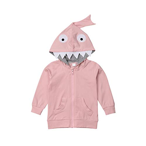 Baby Boy Girl Cartoon Dinosaur Hoodie Sweatshirts Infant Toddler Zip Hooded Sweatsuits Casual Tops Autumn Winter Fashion Coat (Pink, 4-5 Year)