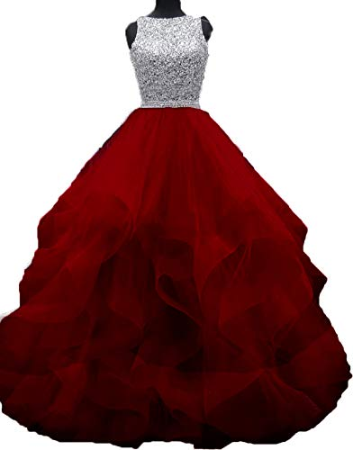 Bonnie Gorgeous Beaded Bodice Prom Dresses 2018 Long Sexy Open Back Ball Gowns Ruffled Tulle Formal Evening Dress BS005 ()