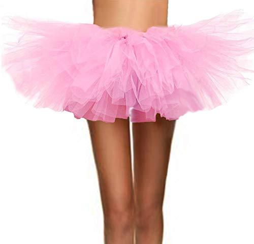 (ASSN Women's Classic 80s Mini Puffy Tutu Halloween Run Bubble Ballet Skirt 6-Layered Pink)