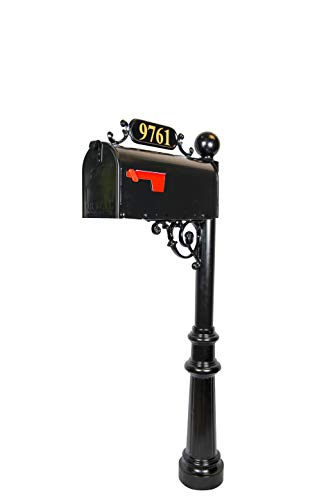 Addresses of Distinction Avenues Standard Mailbox & Post - Black Rust Resistant Metal Mailbox System - Includes Address Plaque, Numbers & Mounting Hardware - Powder Coated Aluminum Base - Ball Finial