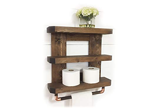 Mountain Creek Woodworks Rustic Wooden Bathroom Shelf & Towel Rack/Rod (Espresso) by Mountain Creek Woodworks