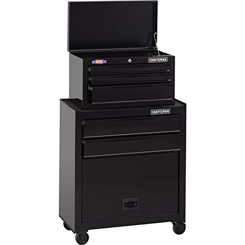 CRAFTSMAN 5-Drawer Ball-Bearing Steel Tool Chest Combo (Black) 1000 Series 26-in W x 44-in H 26 Inch Steel Tool Box