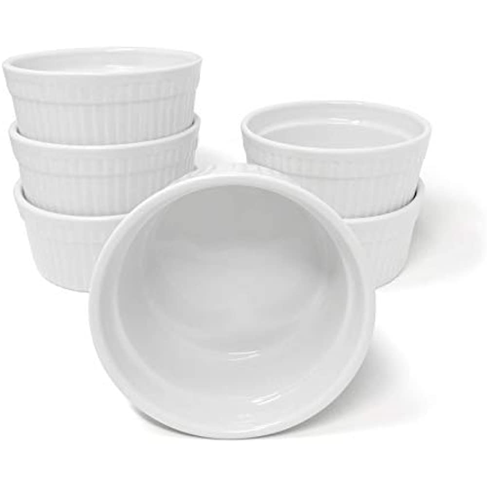 White Ceramic Stoneware Ramekin Dishes 8 oz each Oven /& Dishwasher safe