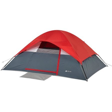 4-Person Dome Tent – Dark Grey/Red
