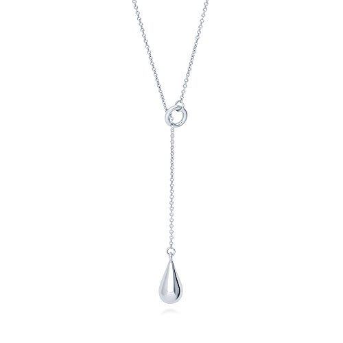 Drop Teardrop Necklace - BERRICLE Rhodium Plated Sterling Silver Teardrop Fashion Lariat Necklace 16