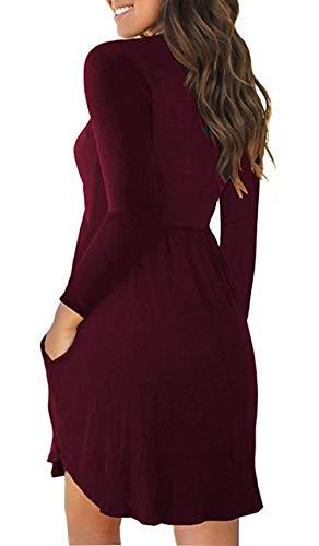 Jeazi Women's Summer Sleeveless Mini Loose Plain Dresses Casual T Shirt Short Dress with Pockets Long jiuhong L by Jeazi (Image #2)