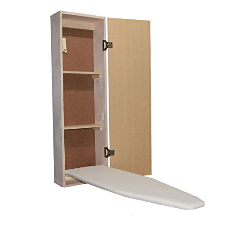 USAFlagCases Built-in Ironing Board Cabinet Raw Wood, Iron Storage, Hide Away, Stow, Fold Away, with Routed Door