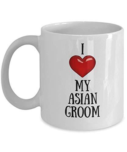 - I Love (Heart) My Asian Groom - Novelty Coffee Mug (White, 11 oz)