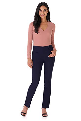 Rekucci Women's Ease Into Comfort Everyday Chic Straight Pant w/Tummy Control - Detail Trousers Leg Wide