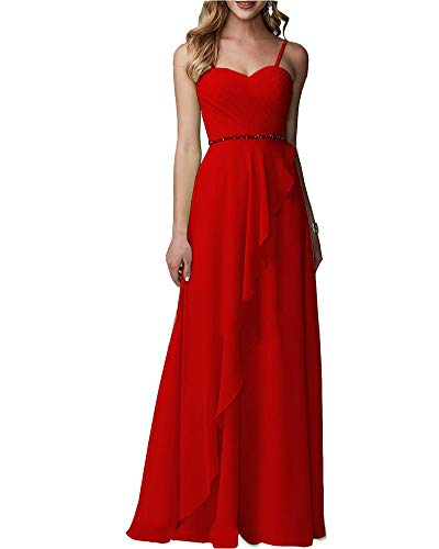 371b325056e0 ... Chiffon Bridesmaid Dress Sleeveless Ruched Aline Evening Formal Gown  Navy Red Custom.   