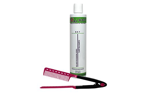 Clarifying Shampoo for Brazilian Keratin Pre-treatment Salt Free, use before Keratin Treatment with Argan Oil, 10Oz / 300ml (Free Easy Comb)