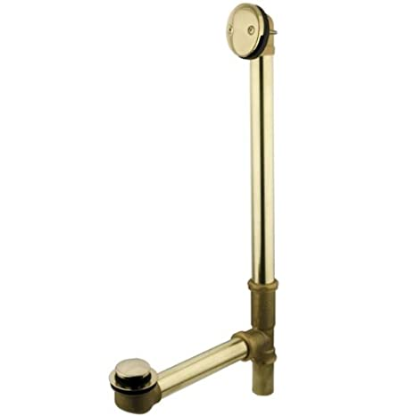 Polished Brass Kingston Brass PDTT2182 18 Tub Waste with Overflow with Tip Toe Drain