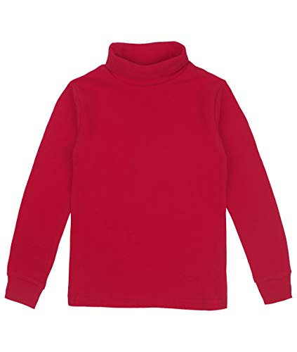 Spring&Gege Youth Girls Solid Turtleneck Cotton T-Shirt Kids Base Layer Tops Size 9-10 Years Red