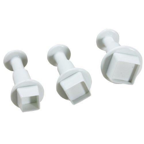 Generic 3Pcs/Set Square Shape Cake Plunger Set Fondant Sugarcraft Decorating Cutters Tools(White) AEQW-WER-AW127028