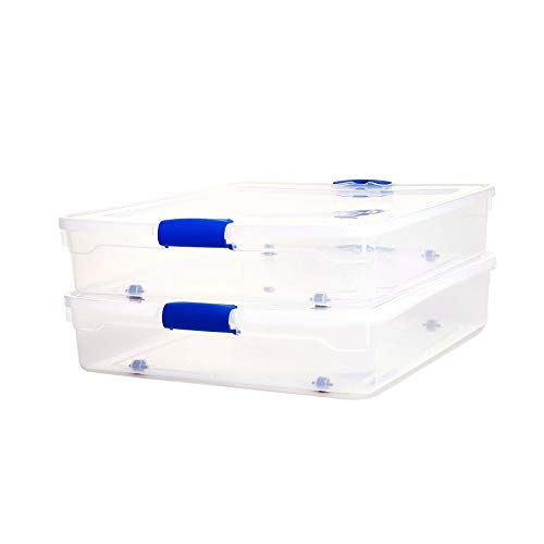 Homz Plastic Underbed Stackable Blue Latching Quart, 2-Pack