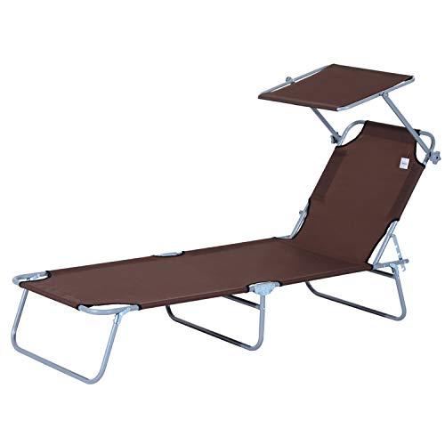 🥇 Outsunny Tumbona Hamaca Plegable con Parasol Inclinable Playa Piscina 187x58x27 cm Acero Marrón