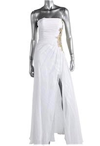 (La Femme Women's White Strapless Embellished Evening Gown Long Dress Bridal Prom Pageant Formal SZ 2 New)
