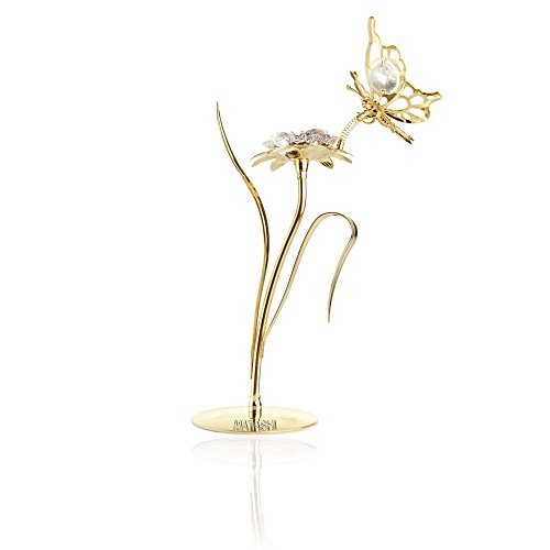 (Matashi Beautifully Crafted Crystal Studded Flower Ornament, with Clear Crystals & Butterfly Figurine Dipped in 24K Gold - Great Gift Idea for Valentine's Day, Birthday, Mother's Day, Anniversary)