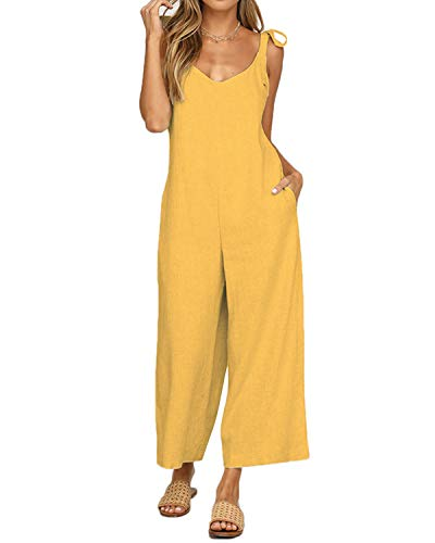 Unifizz Women's Sexy Spaghetti Strap Wide Leg Long Pants Palazzo Jumpsuit Rompers Ladies Outfits Yellow Size XL