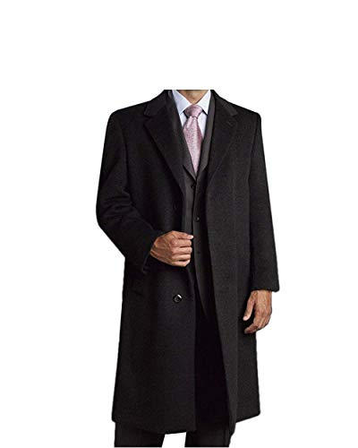 Men's Single Breasted Luxury Wool/Cashmere Full Length Topcoat (50, Charcoal)