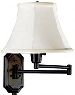 Traditional Swing arm Pin up Lamp, IVORY, OIL RUBBED BRNZ