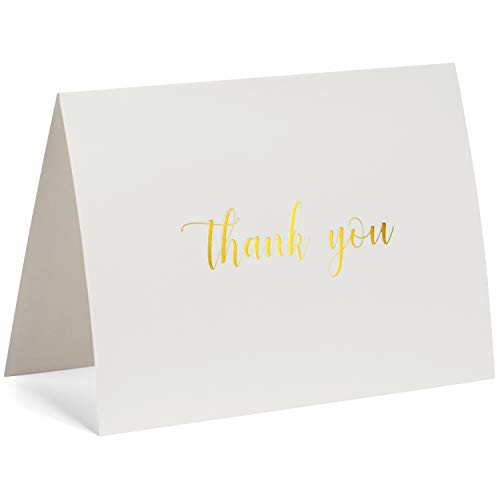 100 Thank You Cards Bulk - Gold Foil Letterpress Thank You Notes with Envelopes & Gold Sealing Stickers - Two Elegant Designs - Perfect for Baby Showers, Weddings, Graduations, Business - Blank Inside by Dayly Creations (Image #4)