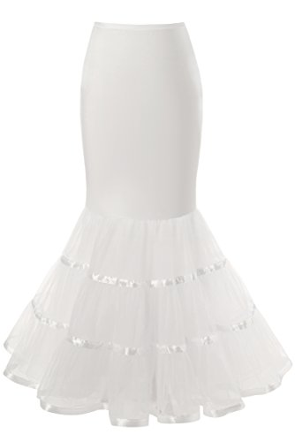 Snowskite Womens 3 Layers Floor Length Trumpet Mermaid Wedding Dress Petticoat, White, S/M