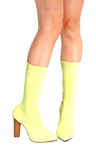 Lolli Couture Elasticizzato A Punta Tacco Alto In Chunky Tacco Alto Giallo-m05-23