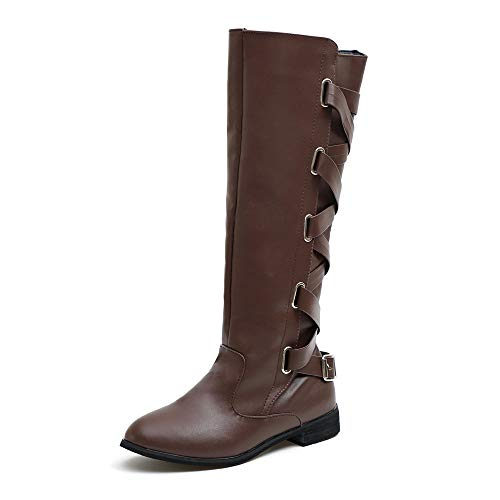 Lolittas Motorbike Knee High Boots Ankle Shoes Women,Winter Riding Horse Mid Cap Gum Desert Tactical Insoles Retro Lace Up Martin Flat Heel Platform Rubber Size 3-7 Coffee