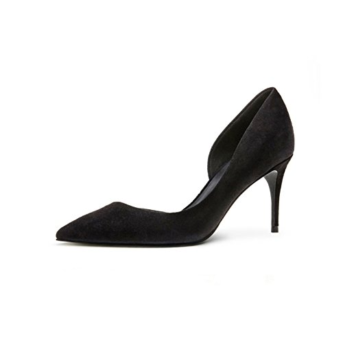 Zapatos 7 EU36 5 Bien Apuntado Boca Negro Profunda Zapatos De Espacio Mujer con Casuales Tacones UK3 5 Poco Tamaño WYYY Cm Lateral p7HqZHn
