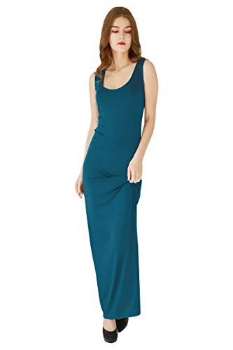 YMING Ladies Boducon Maxi Dress Sleeveless Long Dress Tank Solid Color Dress Water Blue -