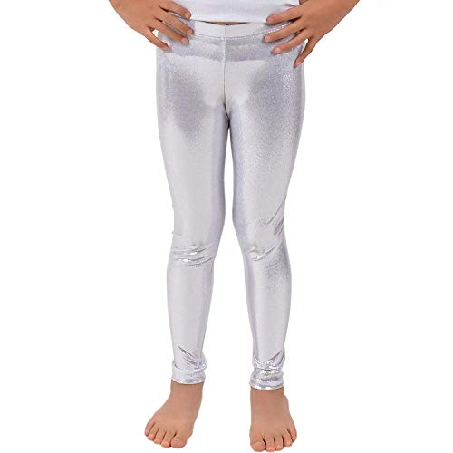Loxdonz Girls Shiny Wet Look Leggings Kids Liquid Metallic Dance Footless Tights (13 Years, Silver) -