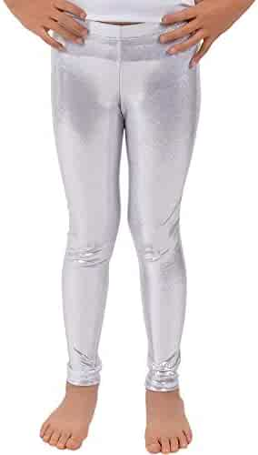 87e3adca289ce Loxdonz Girls Shiny Wet Look Leggings Kids Liquid Metallic Dance Footless  Tights