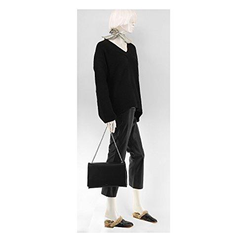 Rouven Black Noir & Silver LIV 30 3-FOLD chaîne sac bandoulière chaîne softiges de poignée en cuir dames sac à main noble chic minimaliste moderne (30x20x10cm)