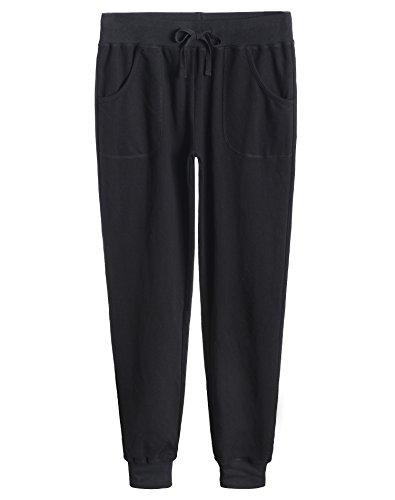 Weintee Women's Cotton Jersey Pocket Joggers S Black ()