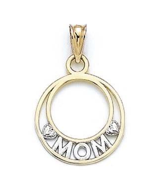14 carats-Bicolore Mom JewelryWeb pendentif en cercle