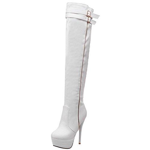 COOLCEPT Damen Mode Stiefel Ohne Verschluss White