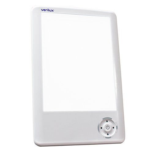 Verilux HappyLight Touch 10,000 Lux LED Bright White Light Therapy Tablet One Touch Timer Adjustable Lux - Light Phototherapy Box