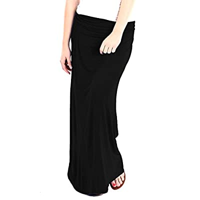 Basics Fold Over Rayon Maxi Skirt at Women's Clothing store