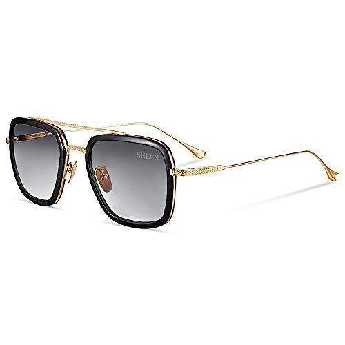 Retro Aviator Sunglasses Square Metal Frame for Men Women Tony Stark Sunglasses Downey Iron Man Gold Frame Dark Grey Lens