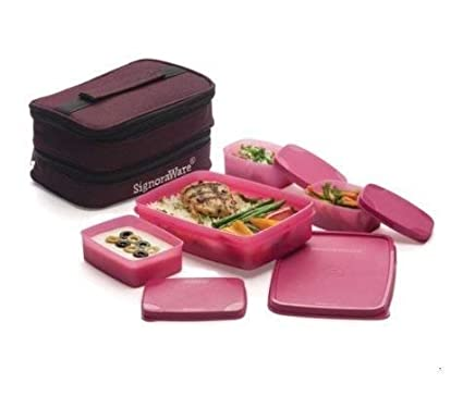 Signoraware Fortune Plastic Lunch Box Set, 4 Pieces, Pink